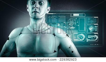 Cyborg In Front Of Digital Screen Full Of Graphs And Information.