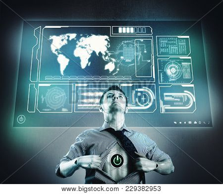 Cyborg In Front Of Digital Screen Full Of Graphs And Information. Robot Representing An Anti Virus.