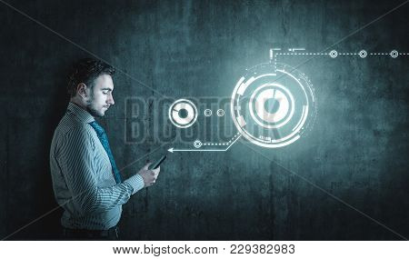 Businessman Using Smartphone. The Concept Of Sharing A Network Connection.