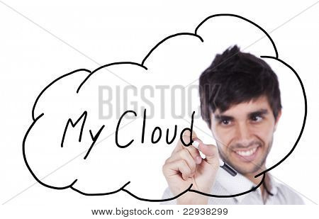 Happy businessman drawing his cloud service on the whiteboard (isolated on white)