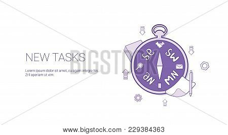 New Task Scheduling Template Web Banner With Copy Space Vector Illustration
