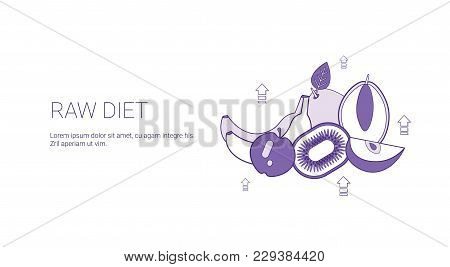 Raw Food Diet Healthy Meal Concept Template Web Banner With Copy Space Vector Illustration