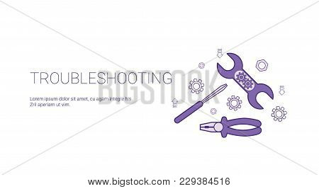 Troubleshooting Service Concept Template Web Banner With Copy Space Vector Illustration