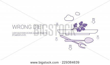 Wrong Diet Nutririon Concept Template Web Banner With Copy Space Vector Illustration