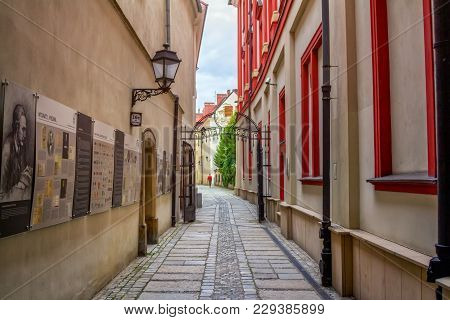 Wroclaw/poland- August 19, 2017: View Of The Narrow Street, From The Ossolineum - Largest Scientific