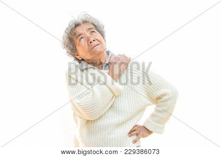 Old Woman Felt A Lot Of Anxiety About  Shoulder And Neck Pain On White Background,illness Of The Eld