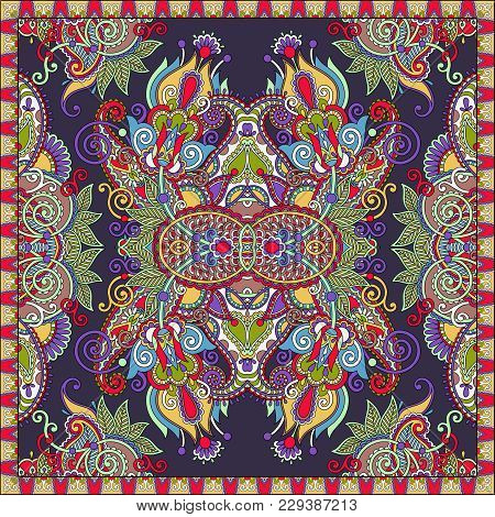 Traditional Ornamental Floral Arabesque Paisley Bandanna. You Can Use This Pattern In The Design Of