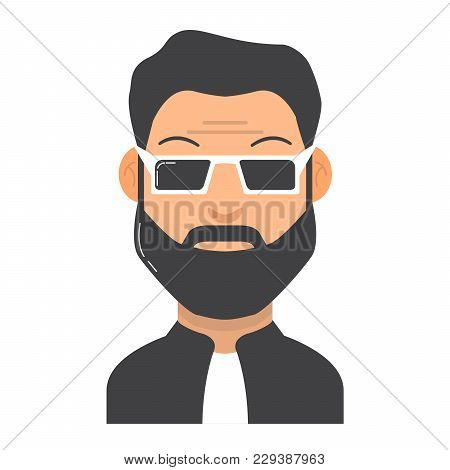The Young Man With A Beard.avatar Cartoon. Character Guy With The Person And Moustaches. In Flat Sty