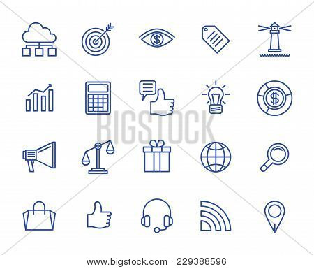 Marketing Set Vector Lines Icons. 64x64 Pixel.