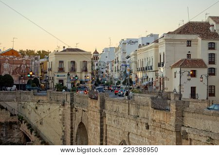 The New Bridge (puente Nuevo) And Spain Square (plaza De Espana) - Ronda, Andalusia, Spain, 31 Octob