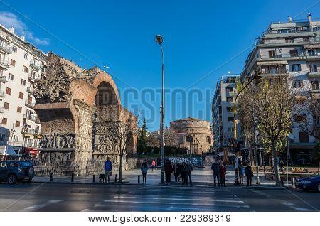 Arch Of Galerius (or Kamara) And Rotunda. Thessaloniki, Grecee
