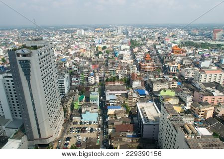 Hatyai, Songlhal, Thailand - 17 Feb, 2018: High Angle View Of Hat Yai City, Songkhla, Thailand Durin