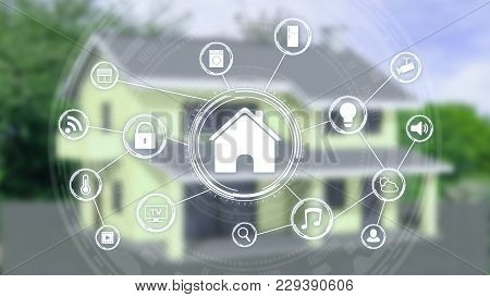 Futuristic Smart Home Interface With A Network Of Icons And A Blurred House On Background (3d Render