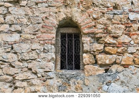 Detail Of A Very Old Stone Wall With Window In Ohrid Dating From Byzantine Period