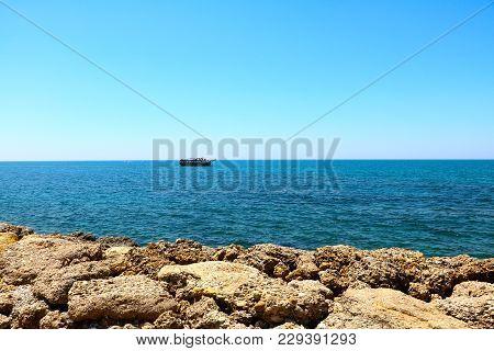 Blue Mediterranean Sea In Morning, Stony Beach