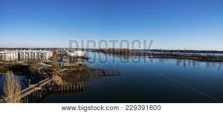 Fraser River Aerial Panorama On The South Arm Of The Fraser River - Richmond, Bc