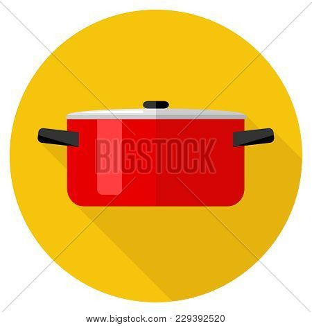 Casserole, Red Saucepan On Orange Background With Shadow. The Icon Of The Pan