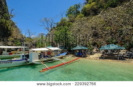 Coron, Philippines - Apr 10, 2017. Boats At Pier In Coron Island, Philippines. Coron Is A Wedge-shap
