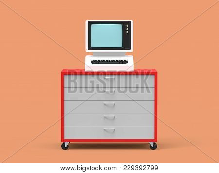 Old-fashioned Personal Computer Vintage Style On The Cabinet Of Drawers. 3d Illustration