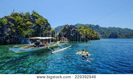 Coron, Philippines - Apr 10, 2017. Tourists Enjoy On Sea At Sunny Day In Coron Island, Philippines.