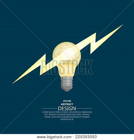 Bulb Badge With Lightning Flash. Concept Of The Fast Idea. Lightning Innovative Solution. A Vector I