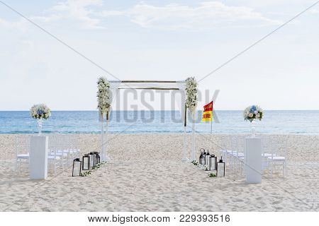 Beach Wedding Venue Outdoor Decoration, Flower, Floral, The Sea In Background. Koh Samui, Thailand