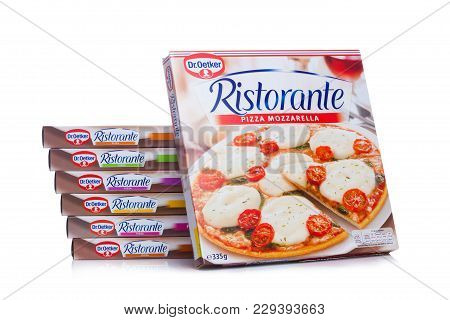 London, Uk - March 01, 2018: Boxes Of Dr.oetker Pizza Mozzarella On White Background With Reflection