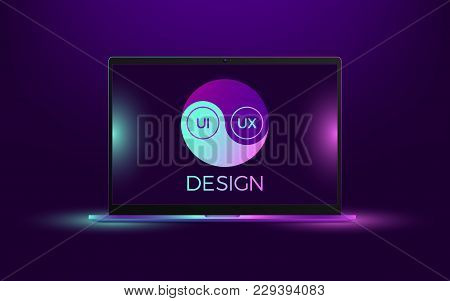 Vector Laptop With Blue And Pink Illumination. Computer Notebook With Yin Yang Symbol, Concept Of In