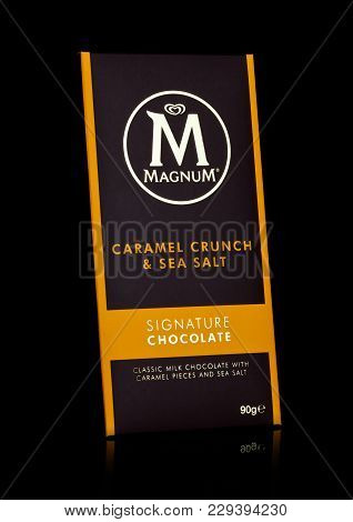 London, Uk - March 01, 2018: Luxury Chocolate Bar Of Magnum Signature Chocolate With Caramel And Sea