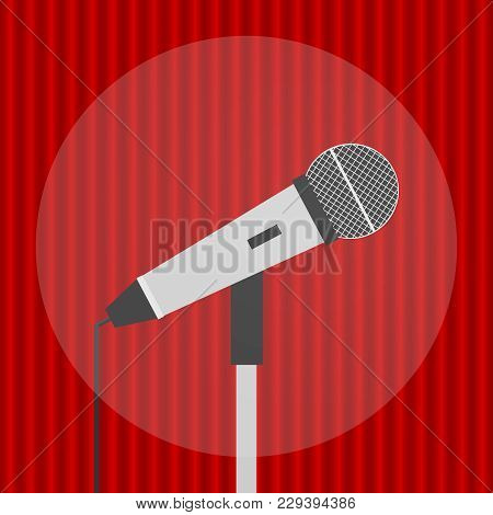 Microphone, Realistic Microphone On A Red Background. Microphone Icon.