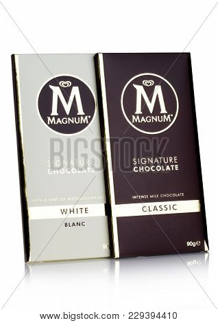 London, Uk - March 01, 2018: Luxury Chocolate Bar Of Magnum Signature Dark And White Chocolate On Wh