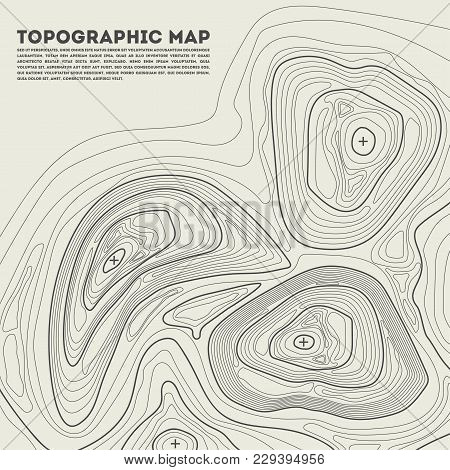 Graphic Illustration Of Topographic Map With Abstract Lines Showing Elevation On Ground.
