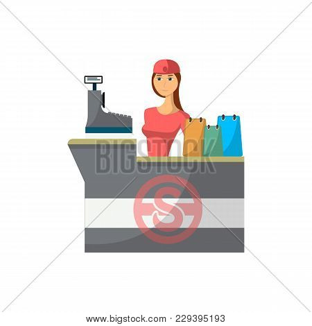 Supermarket Store Counter Desk With Cashier Icon In Flat Style. Shopping In Supermarket, Retail And