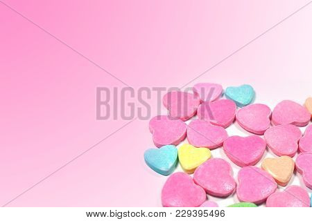 Closed Up Isolated Group Of Colorful Love Candy