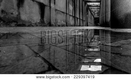 Water Reflection In A Narrow Hall In Copenhagen