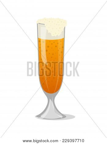Glass Mug Of Frothy Beer Isolated Icon In Cartoon Style. Brewery, Alcohol Drink, Ale Symbol, Bar Or