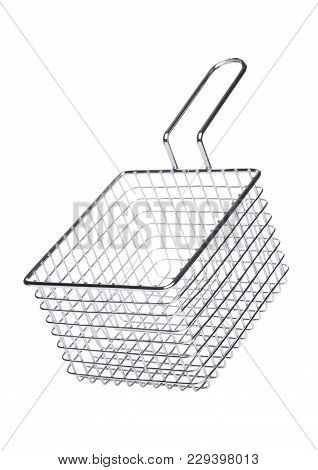 Stainless Steel Basket For French Fries On White Background