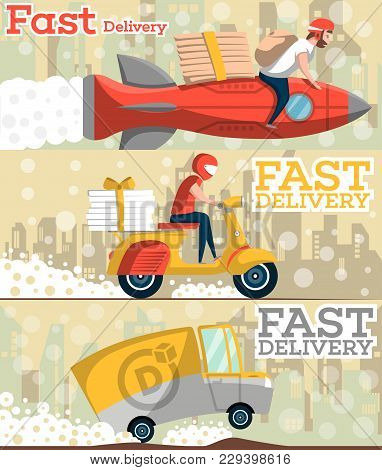 Fast Food And Pizza Delivery Horizontal Banners With Cityscape On Background. Food Truck, Couriers W