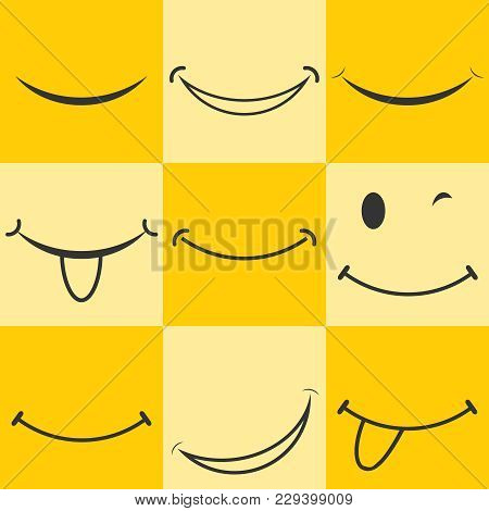 Smiley, Smiley Icon. Animated Smile. Smiley Logo On A Yellow Background. Flat Design, Vector Illustr