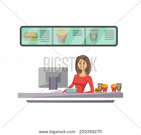 Shop Counter With Cashier Icon In Flat Style. Street Fast Food Cafe Element, Restaurant Takeaway Men