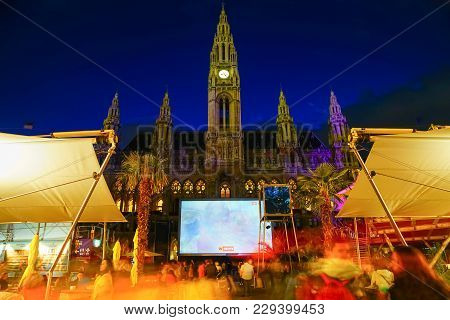 Vienna,austria - September 4 2017; Film Festival Night Event With Screening, Food Outlets And Crowd
