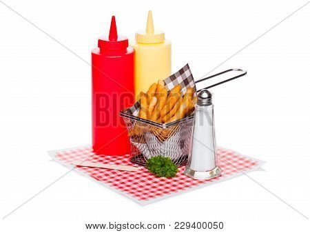 Basket Of Freshly Made Southern Fries With Ketchup And Salt Black Paper On Red Restaurant Paper Back