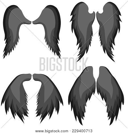 Angel Wings. Realistic Angel Wings Are Black. Icon Of The Wings Of An Angel. Flat Design, Vector Ill