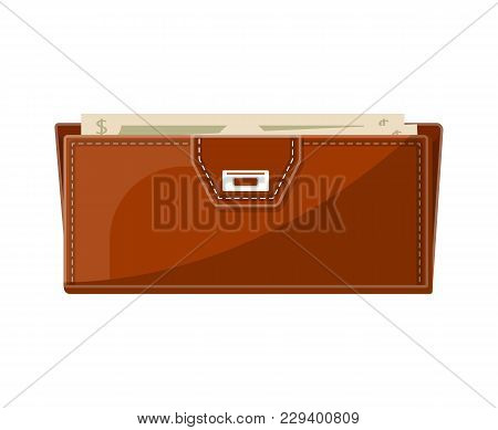 Female Brown Leather Clutch With Banknotes Icon In Flat Style. Elegant And Fashion Accessory, Busine