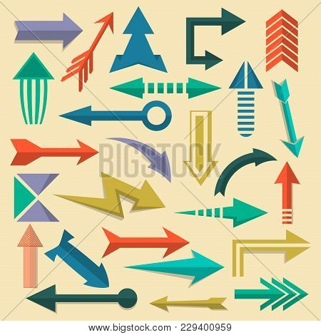 Retro Arrow Symbols Set In Flat Style. Vintage Interface Navigation Elements For Web Design Or Mobil