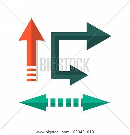 Retro Arrow Direction Signs In Flat Style. Vintage Interface Navigation Elements For Web Design Or M
