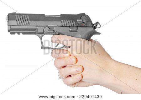 Black Gun In Hand Isolated On White Background