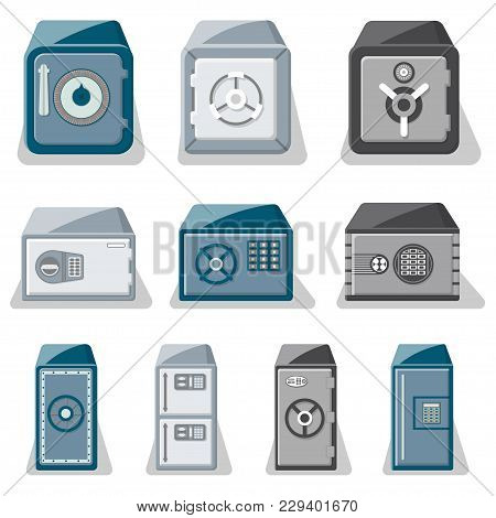 Metallic Safe Box With Closed Door And Buttons Of Electronic Combination Lock Set. Money Storage, Fi