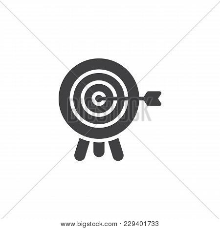 Target With Arrow Vector Icon. Filled Flat Sign For Mobile Concept And Web Design. Archery Aiming Ga