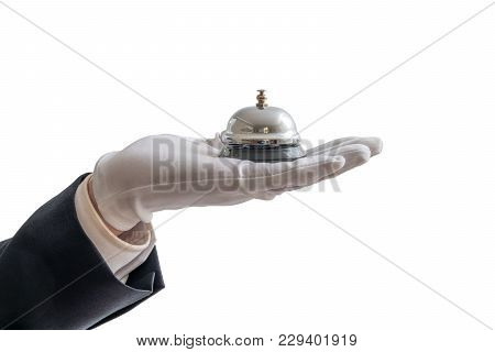 Hand In White Glove Is Holding Service Bell. Isolated On White Background.